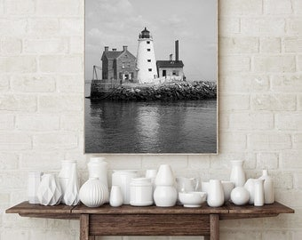 Lighthouse Photography, Black White Lighthouse Photo, Wall Art, Lighthouse on Island, Seaside, Beach Cottage Decor, Beach Photos