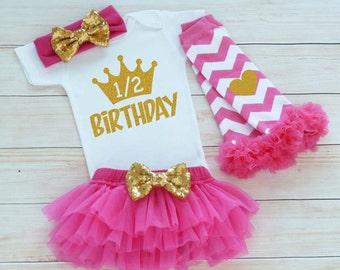Baby Girl Half Birthday Outfit, Half Birthday Girl Bodysuit, Cake Smash Shirt, Half Way To 1 Outfit, Six Month Birthday, Half Birthday Shirt
