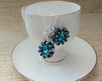 Seed bead earrings Gift for her Blue dangle earrings Blue beaded earrings Twin beads earrings  Swarovski crystal  Blue drop earrings