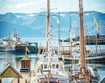 Boats in the port of Húsavík in Iceland
