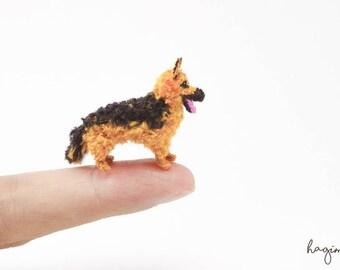 Tiny crochet German Shepherd dog, Miniature crochet German Shepherd , tiny amigurumi dog.