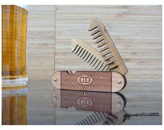 Wood and Bamboo Folding Beard Comb