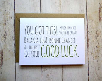 Good luck card // You got this! // New job card // Exams card // Gap year card // All the best! // Go you!