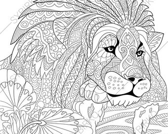 adult coloring pages lion zentangle doodle coloring book page for adults digital illustration