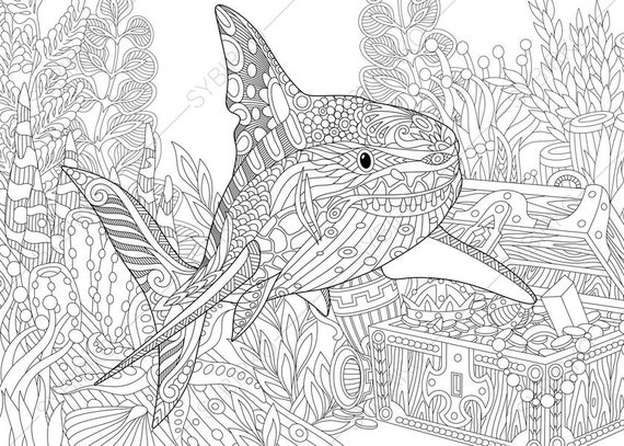 adult coloring pages shark and treasure chest zentangle doodle coloring pages for adults digital illustration instant download print - Coloring Pages Sharks Print