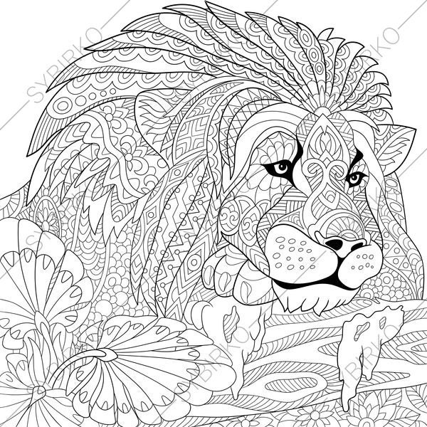 Adult Coloring Pages Lion Zentangle Doodle Book