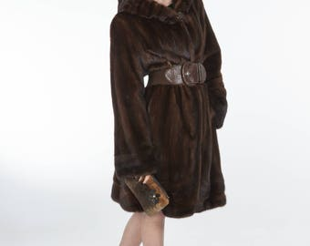 Mink fur coat with mink hood! Latest fur fashion trends at FurBrand!