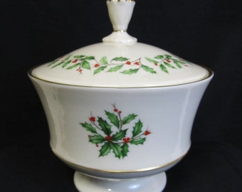 Vintage Lenox Covered Candy Dish, Holiday Candy Bowl with Holly and Berries