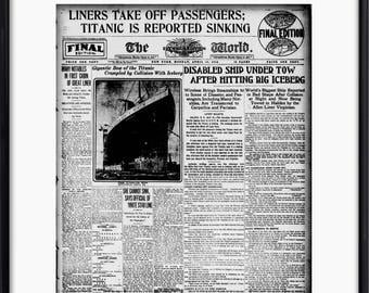 Titanic Article, Newspaper Poster