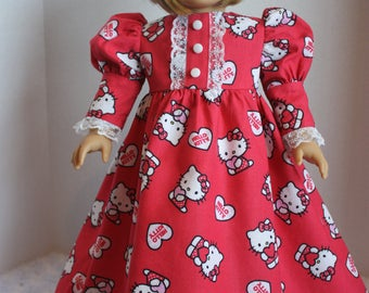 Red Hello Kitty long sleeved nightgown with lace trim, fits 18 inch American Girl