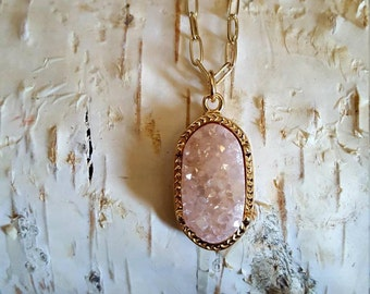 Genuine pink stone necklace