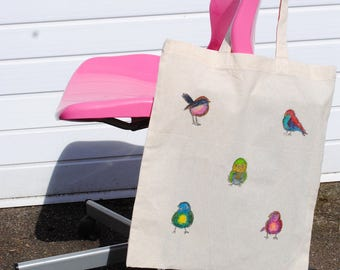 Easter Gift - Fabric Bag - Hand Painted Bag - Watercolour Art - Cotton Tote Bag - Bird Gift - Canvas Art Bag - Women's Gift - Birthday