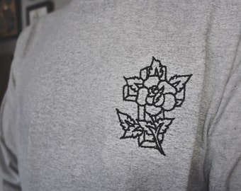 HAND-STITCHED- Cross + Rose T-shirt- Traditional Tattoo Flash Inspired- Custom Made- Handmade Embroidery & Needlework- Made to Last