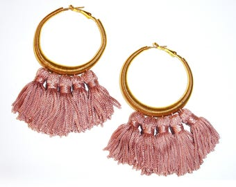 Golden circle earrings with pendants, gift for her