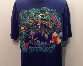 1994 RAINFOREST HABITAT Graphic Tee / Retro Wake Up To The Rainforest Colorful Toucan Cheetah Wildlife Shirt Mens Size XL