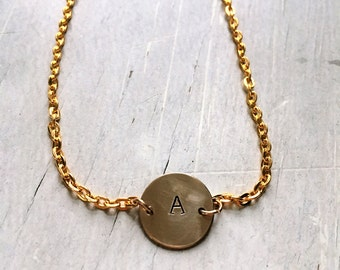 Hand stamped small circle initial necklace. Monogram. Bridesmaid gift.