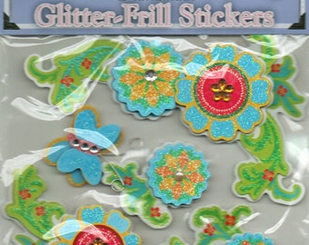 Flowers Glitter Frill 3D Stickers Forever In Time Scrapbook Embellishments Cardmaking Crafts