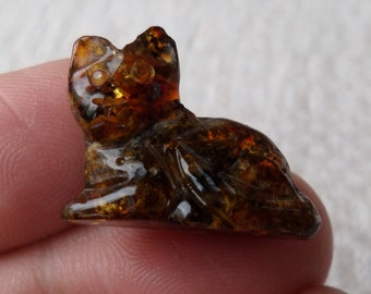 2,00gr. CAT Authentic Black Miniature Natural Real Hand Carved Baltic Amber Amulet