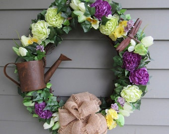 Rustic Summer Wreath for Front Door - Year Round Wreaths - Farmhouse Wreaths - Ranunculus - Spring Wreaths - Watering Can - Country Decor