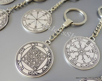Pentacle of King Solomon, Seal, Talisman, Amulet of King Solomon Pentacle Keychain format 2 Seals in one medallion