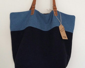 "The tote bag ""Laura"", reversible bag, tote bag, handbag, purse offer, tote bag, large bag, hobo bag, leather handles"