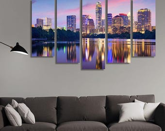 LARGE XL Downtown Skyline of Austin, Texas, USA Canvas Print a City on the Colorado River Canvas Wall Art Print Home Decoration - Stretched