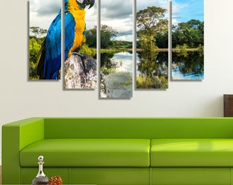 LARGE XL Parrot Macaw in Pantanal, Brazil Canvas Print The Amazon Jungle at Daytime Canvas Wall Art Print Home Decoration - Stretched