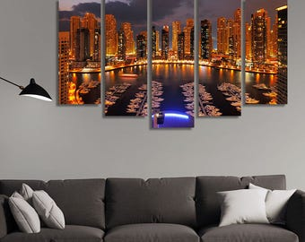 LARGE XL Dubai Marina at Dusk Canvas Wall Art Print Home Decoration - Framed and Stretched - 1122