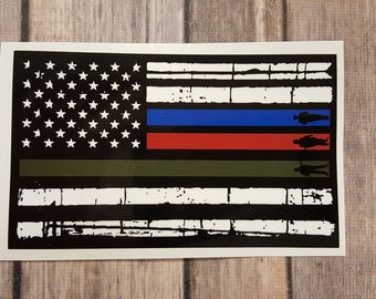 USA Flag Firefighter Police Military Decal, Support USA, Flag Decal, Police Decal, Fire Decal, Military Decal