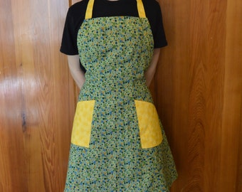 Women's Apron- Green and Yellow Vintage-Style Apron, Handmade Apron, Cute Apron, Unique Apron, Chef's Apron, Kitchen Apron, Mother's Day