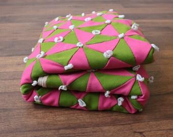 Vintage Mod Bedspread // 60s 70s Quilt Coverlet Pink Green Tassel Geometric Blanket