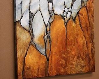 Ocher-yellow Rock — original oil painting on canvas, wall art