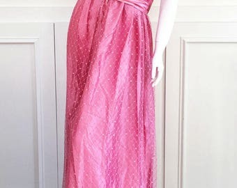1950s Vintage Dusty Rose Full Length Satin Gown with Lace Overlay, Short Sleeves, Matching Satin Bow/Belt  (10096CL)
