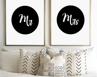 Mr And Mrs Print, Mr & Mrs, Mr And Mrs Signs, Gifts for Newlyweds, Bedroom Poster, Couples Decor, Modern Minimalist, Typography Art, Mr, Mrs