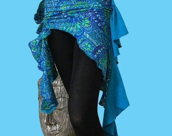 Sassy Belly Dance Hip Scarf / Asymmetrical  Overskirt