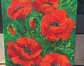 Textured Magnificent Red Poppies