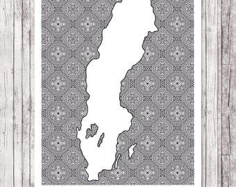 Sweden mandala map