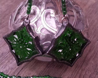 Vintage 1940's Arabesque Stained Glass Soldered Earrings by Indigo Mood