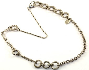 Vintage Gc Signed Cable Style Multi-Style Chain Necklace 925 Sterling Silver NC 810