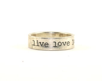 Vintage Far Fetched Live Love Laugh Band Ring 925 Sterling Silver RG 1978