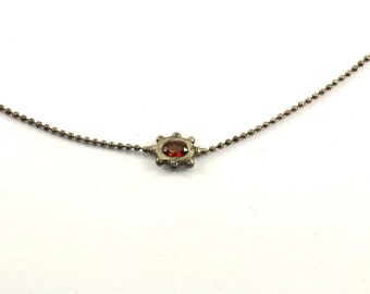 Vintage Beads Beaded Red Crystal Necklace 925 Sterling NC 858-E