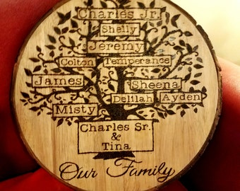 Personalized Wood Slice Family Tree