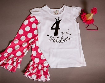 4th birthday shirt, fourth birthday outfit with polka dot capris and party hat, four & fabulous