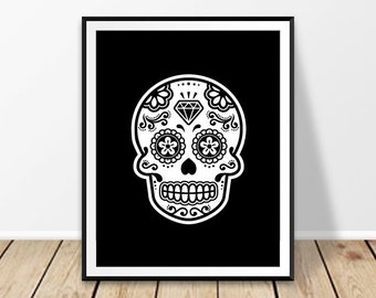 Day Of The Dead Wall Art day of the dead art | etsy