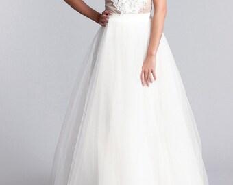 Bridal skirt, Long tulle skirt,  tulle skirt, Bridal separates,  Long bridal skirt in white or Ivory