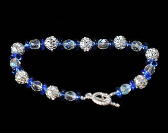 Sparkling blue and silver bracelet