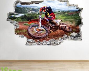 Motorbike Wall Sticker 3d Look - Boys Kids Bedroom Extreme Sport Wall Decal Z108
