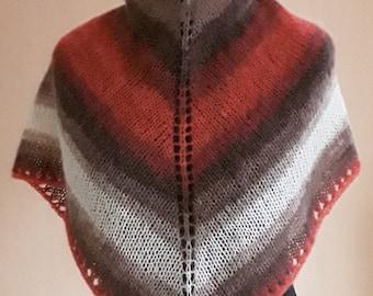 Triangle shawl Triangle scarf Shawl Knitted shawl Multi colour shawl Multi colour scarf Striped shawl Winter shawl Handknit
