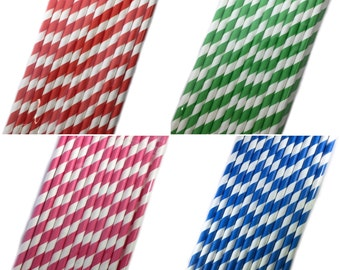 Striped Paper Straws/ Cake Pop Sticks, 25 pack