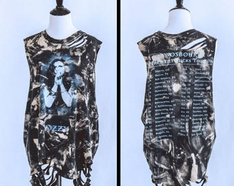 Ozzy Osbourne Tour Distressed Shirt - Reworked Band Shirt - Bleahed shirt